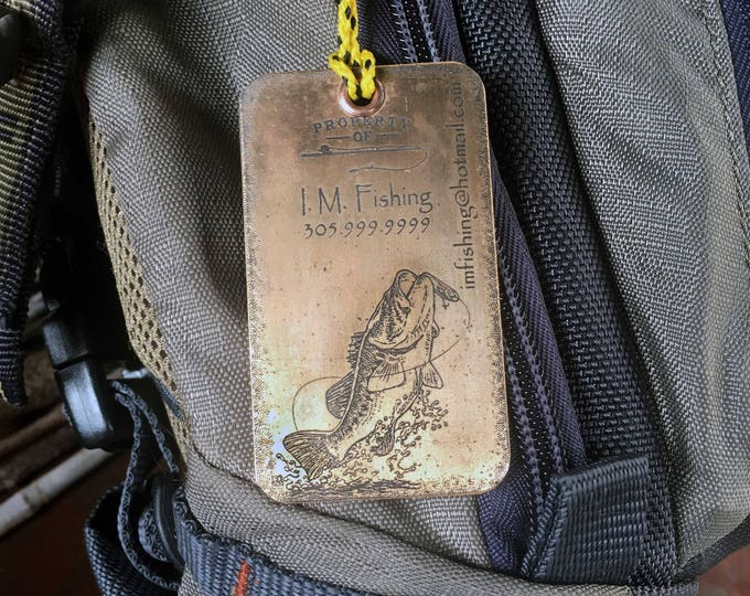 Set of two (2) Copper or Brass Luggage Tags, Fishing Bag Tags, Personalized Luggage Tags, Fisherman gift