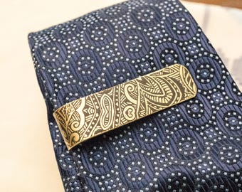 Men's Personalized Tie Bar, 7th Anniversary Gift, Nu Gold Tie Clip, Gift for Him - Monogram - Groomsmen Gift, Teacher Gift - Nu Gold Tie Bar