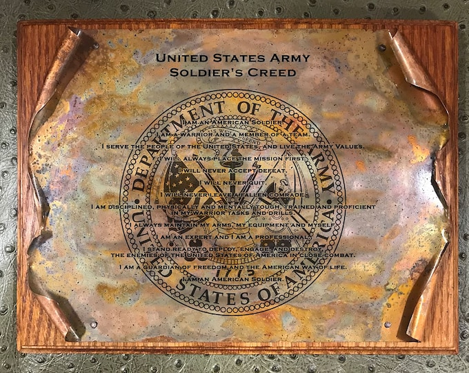 Copper Army Soldier's Creed Scroll, Military Gift