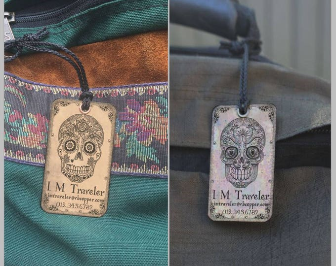 Luggage Tag Personalize Set of two (2) tags, Personalized Luggage Tags,  Gift for couple, Hers & His, Día de Muertos, Day of the Dead