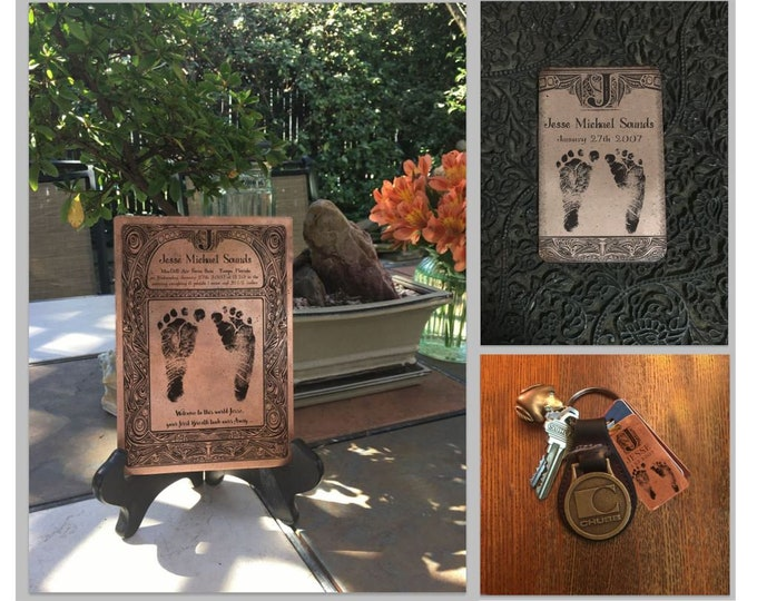Your Child's Actual Footprint, Copper Baby Footprint, Gift for Mom, Gift for Dad, Mother's Day Gift, Father's Day Gift, Baby Foot Prints