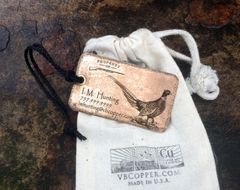 Set of two (2) Copper or Brass Luggage Tags, Hunting Bag Tags, Personalized Luggage Tags, Hunter gift