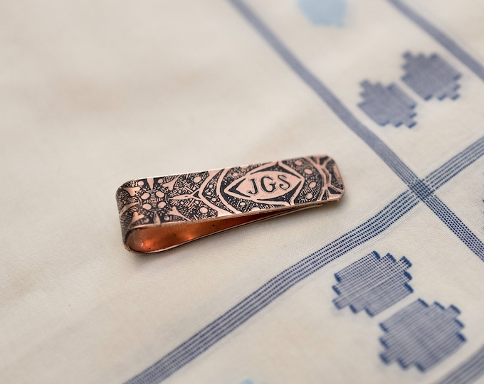 Men's Personalized Tie Bar - Wedding Keepsake - 7th Anniversary Gift - Copper Tie Clip - Gift for Him - Monogram - Groomsmen Gift