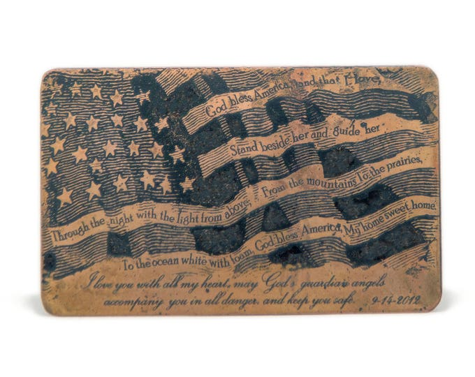 Military Deployment Wallet Card, Front & Back Option, Copper Etched Artwork, Personalized Copper Card, Your Own Handwriting, Prayer, Quote