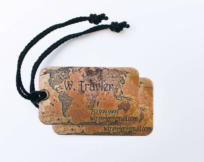 Set of two (2) Metal Luggage Tags - Custom Copper Luggage Tags - Personalized Luggage Tags - Honeymoon Gift - Traveller gift