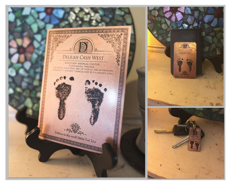 Copper Baby Footprint, Gift for Mom, Gift for Dad, Mother's Day Gift