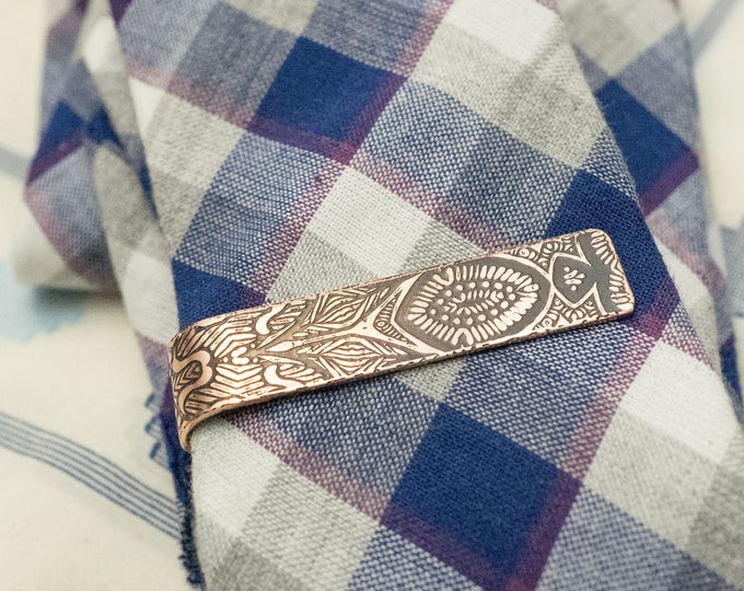 Men's Personalized Tie Clip - 7th Anniversary Gift - Copper Tie Clip - Gift for Him - Monogram - Groomsmen Gift - Copper Tie Bar