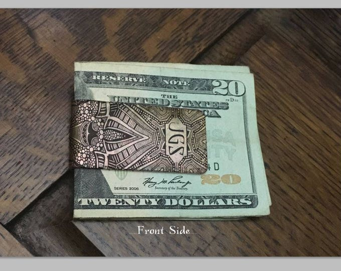 Personalized Monogram Money Clip, Wedding Keepsake, Mens Money Clip, Groomsmen Gift, Custom Copper Money Clip - Personalized Gifts For Him
