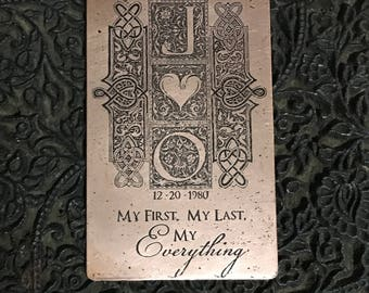 Custom Wallet Card Insert, Copper Etched Artwork, Valentines, Copper Anniversary Gift, Your Own Handwriting, Anniversary, Custom Art