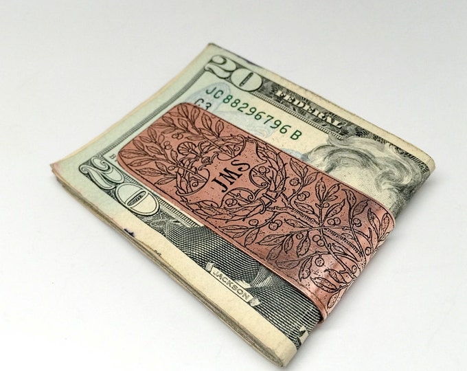 Personalized Copper Money Clip - Money clips for men - Monogram Bronze Money Clip - Groomsmen Gift - Mens Money Clip