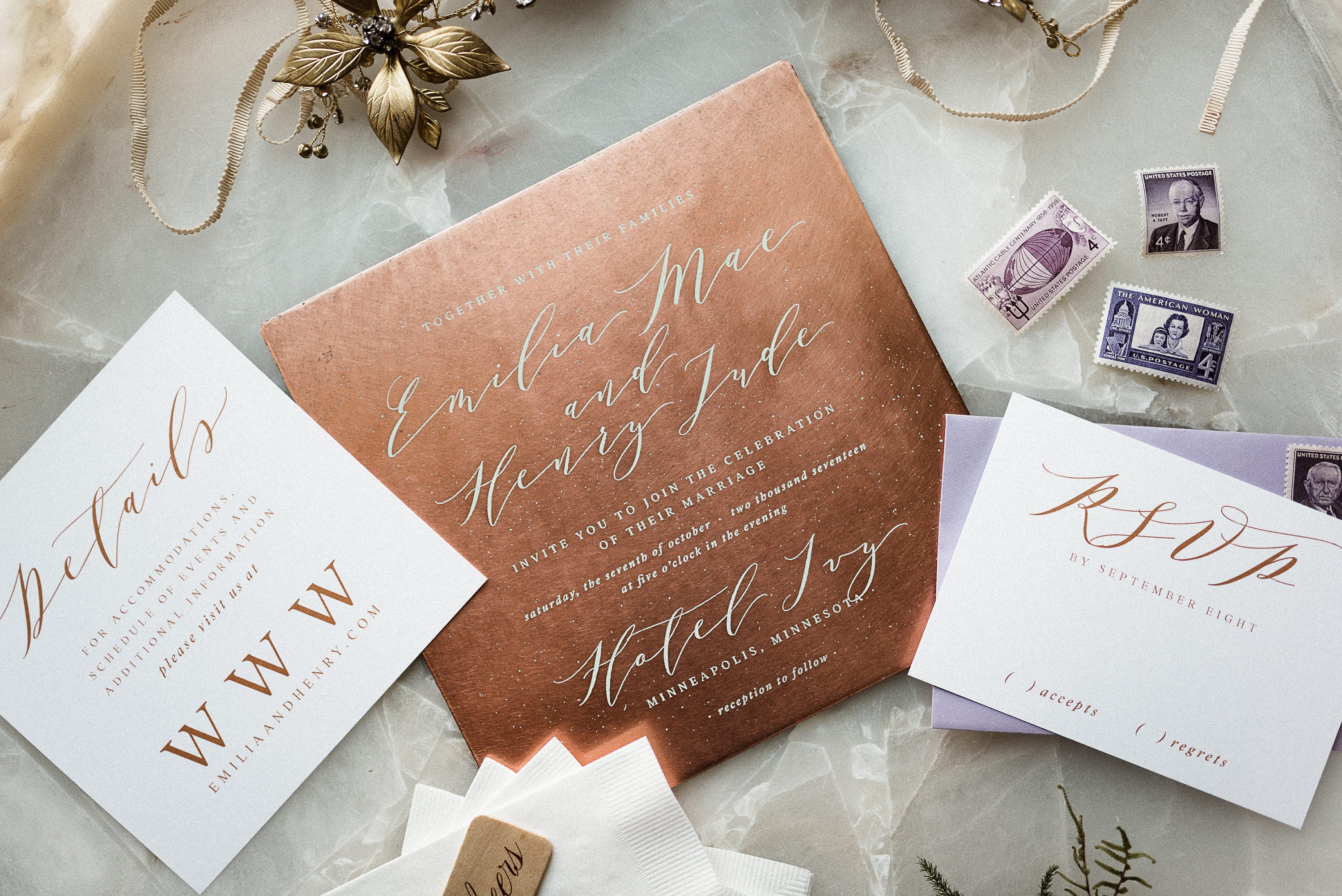 Copper Wedding Invitation Marriage Certificate Wedding Invitation