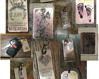 Keychain Gifts, Baby Footprints, Gift for Mom, Gift for Dad, Art Tag, Mother's Day Gift, Father's Day Gift, Actual Footprint, Dog Tags