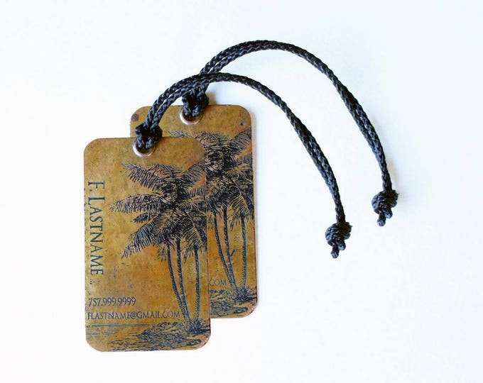 Luggage Tag Personalize Set of two (2) tags, Copper or Brass Personalized Luggage Tags, Palm Tree Luggage Tags - Honeymoon Gift