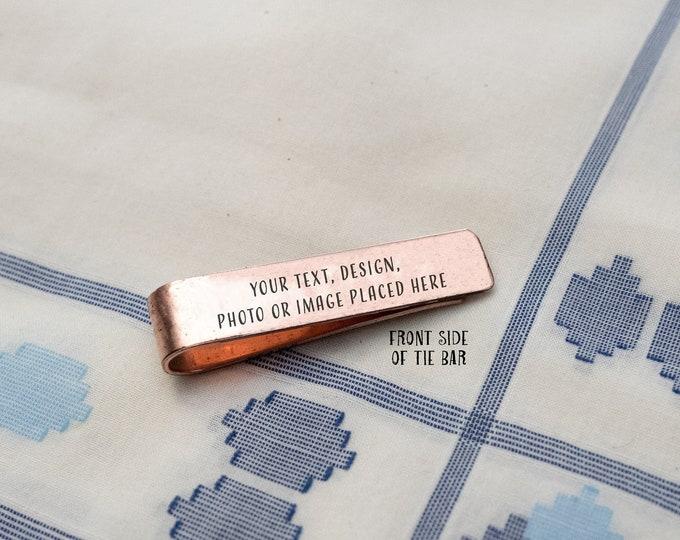 Men's Personalized Tie Clip, 7th Anniversary Gift, Copper Tie Clip - Gift for Him, Monogram Tie Bar, Groomsmen Gift - Teacher Gift