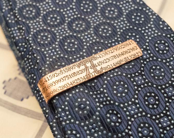 Men's Personalized Tie Clip - 7th Anniversary Gift - PI Copper Tie Clip - Gift for Him - Monogram - Groomsmen Gift - Teacher Gift