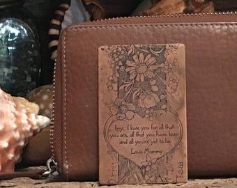 Copper Wallet Card, Metal Wallet Card, Brass Wallet Card, Your Own Handwriting, 7 Year Anniversary Gift, Keepsake, Custom Art,