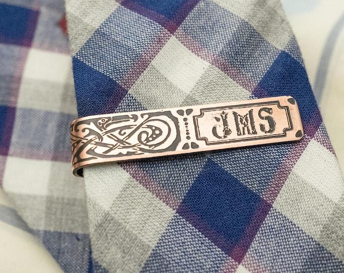 Men's Personalized Tie Bar - 7th Anniversary Gift - Copper Tie Clip - Gift for Him - Monogram - Groomsmen Gift