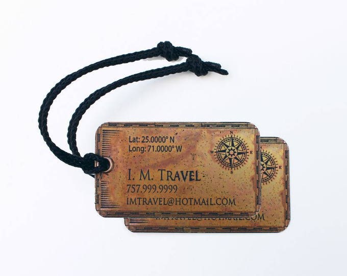 Set of two (2) Copper Luggage Tags - Custom Tags - Personalized Nameplate - Copper ID Tags - Metal Luggage Tags - Brass Plates