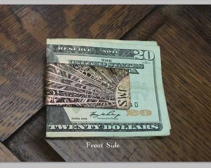 Personalized Monogram Money Clip - Fathers day gift - Groomsmen Gift - Mens Money Clip - Custom Copper Money Clip