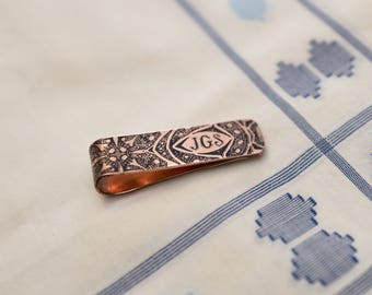 Men's Personalized Tie Bar - Wedding Keepsake - 7th Anniversary Gift - Copper Tie Clip - Gift for Him - Monogram - Groomsmen Gift