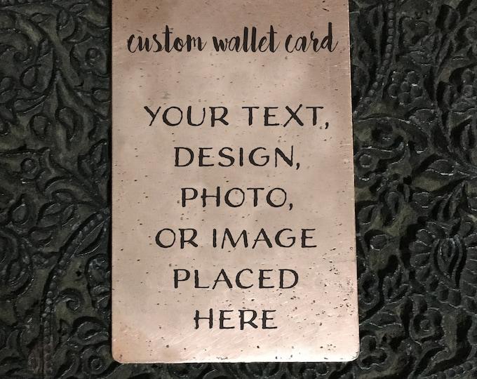Copper Wallet Card, Business Card, Metal Wallet Card, Brass Card, Your Own Handwriting, 7 Year Anniversary Gift, Keepsake, Custom Art,