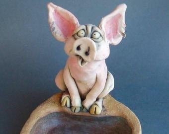 Pink Pig at a Mud Hole Ceramic Animal Sculpture Dish