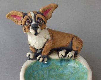 Corgi Ceramic Dog Sculpture Dish