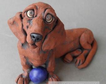 Dachshund Ceramic Dog Sculpture with Ball