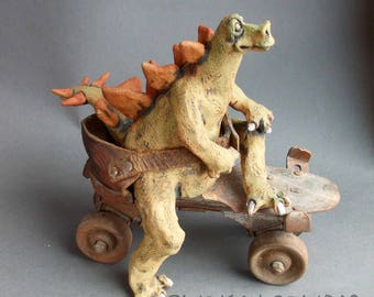 Stegosaurus Dinosaur on Roller Skate Ceramic Sculpture