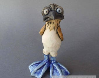 Blue Footed Booby Ceramic Bird Sculpture