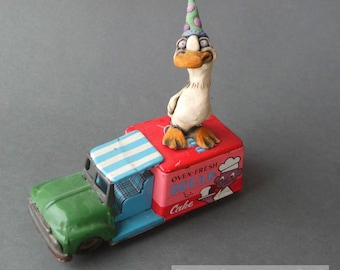 Lucky Duck on Antique Toy Bread Truck Whimsical Mixed Media Sculpture