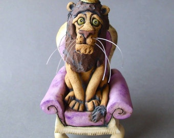 Lion King: Lion on a Purple Throne Ceramic Sculpture