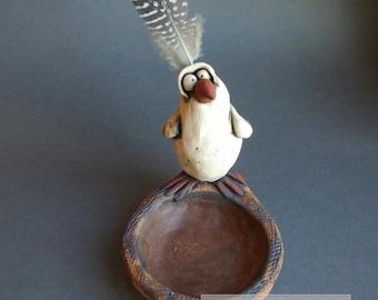 Goofy White Bird on Nest Sculptural Ceramic Dish