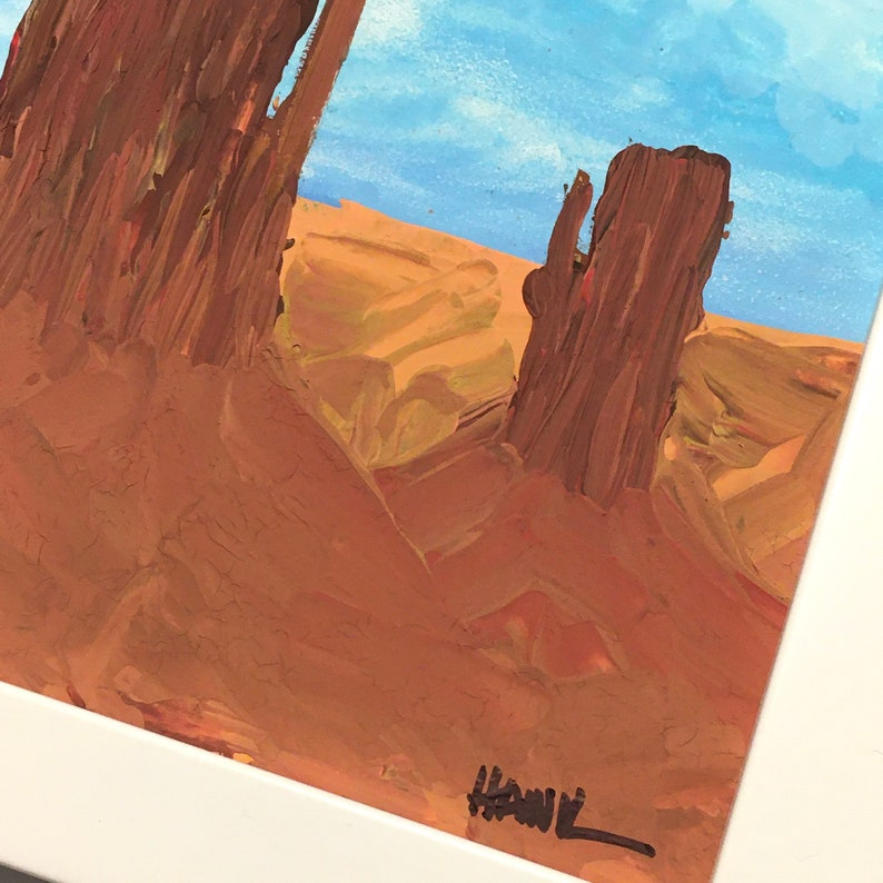 Navajo Nation 6x6 inches Two Mesas Gift Idea Framed 6X6 inch Original Painting Titled Monument Valley me Art by Hawk By Hawk