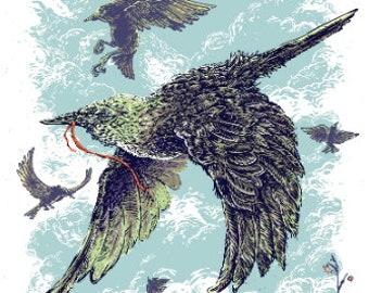 "Some Starlings - 10"" x 20"" Silkscreen Art Print Limited Edition"