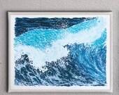 "Ocean Wave Print - Handmade 18: x 24"" serigraph screenprint fine art screenprinted original art print"