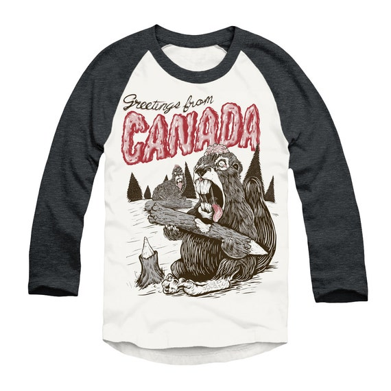 Greetings from canada zombie beavers unisex baseball tee etsy image 0 m4hsunfo