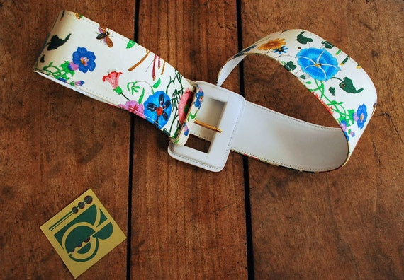 Gucci Iconic Floral 70's Print Belt - image 1