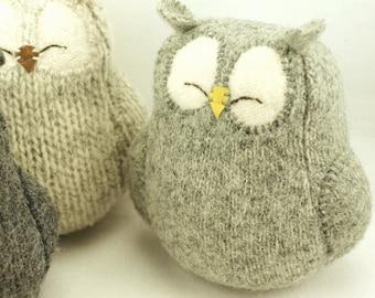 "Sleepy Owl Grey Felted Wool Lamb Wool Stuffing Height 7"" Eco Friendly Upcycled"