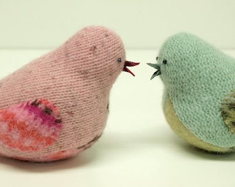 Upcycled Felted Wool Chubby Little Bird in Pink