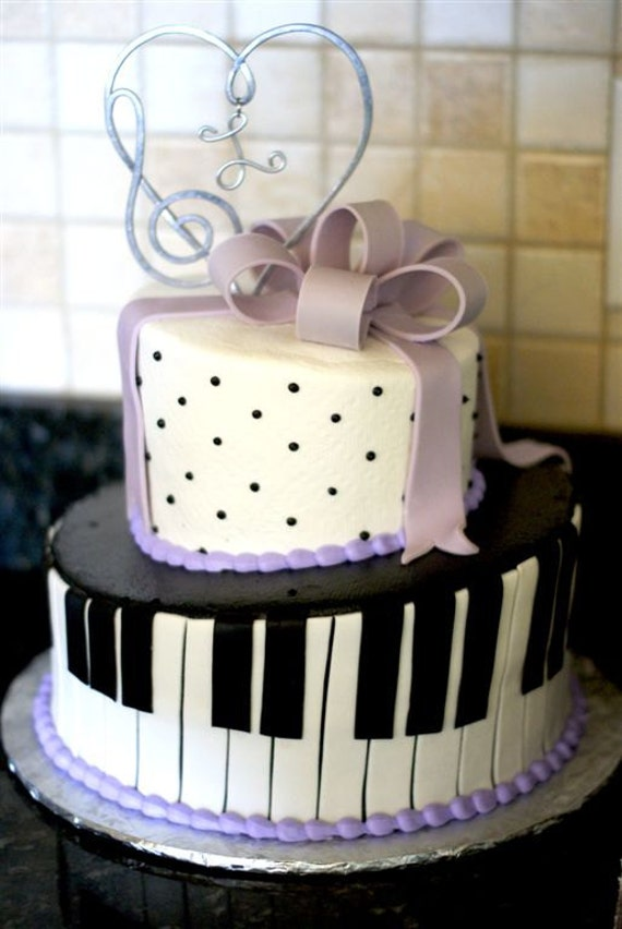 Music Note Heart Cake Topper With Initial Wedding Cake Or Etsy