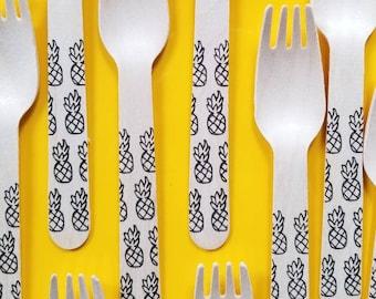 Pineapples - 100 Wooden Forks