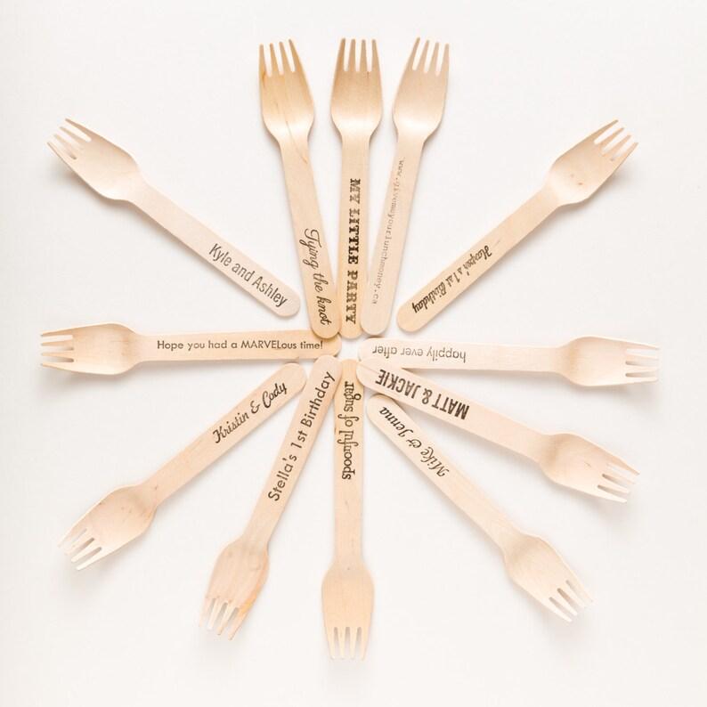 Custom Utensils  Wooden Forks and Knives  For Weddings image 0