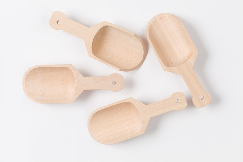4 Wooden Scoops  Drilled For Tags image 0
