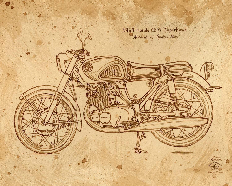 Coffee art 1964 Honda Superhawk Motorcycle painted using  5400d1a49