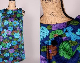 Vintage Ky/'s Hawaiian Dress Shift Blue Turtles Coral Reef 60s 70s 80s Hawaii Sleeveless Knee Length Summer Cute Tropical Swim Straps USA