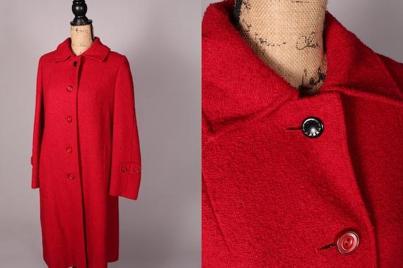 50s 60s Coat //  Vintage 50s 60s Red Pink Coat Siz
