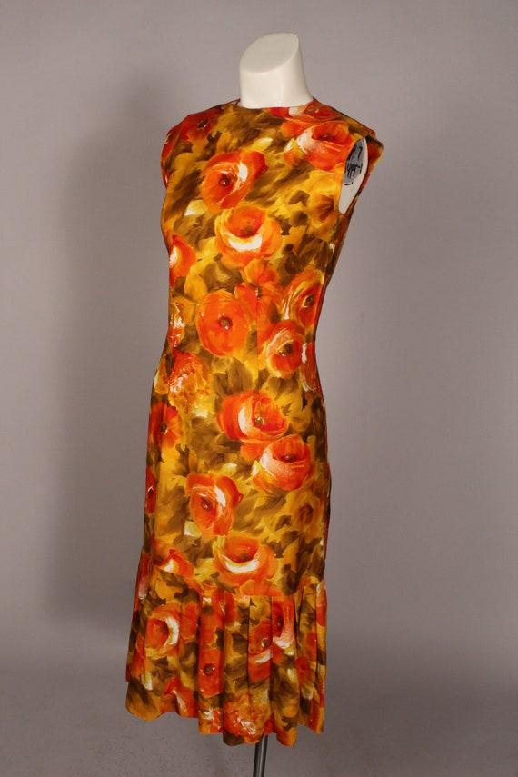 60s 70s Dress //  Vintage 60s 70s Orange Yellow F… - image 7