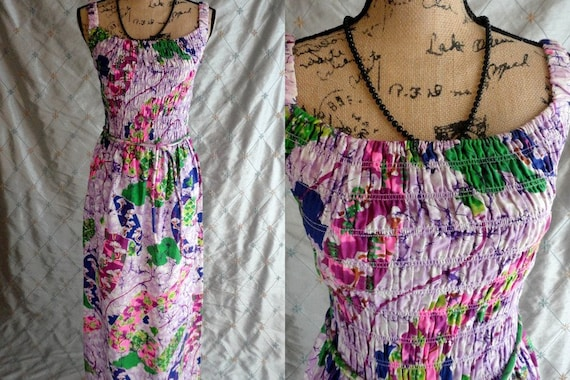 70s Dress //  Vintage 70s Colorful Batik Print Max
