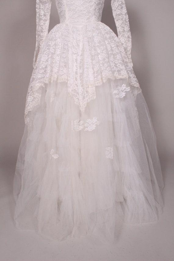 50s 60s Wedding Dress //  Vintage 50s 60s White L… - image 3